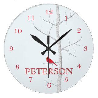 Reloj de pared del árbol de abedul del invierno