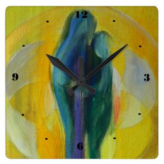 Reloj de pared del cuadrado de la tarjeta del día