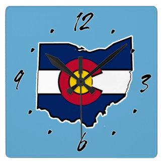 Reloj de pared del cuadrado del esquema de Ohio de