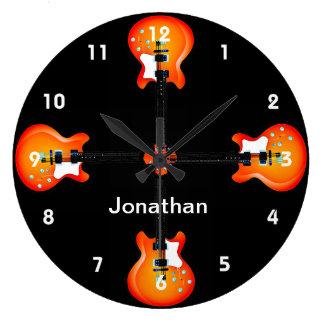 Reloj de pared del diseño de las guitarras
