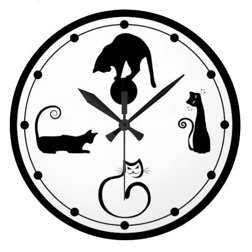 Reloj de pared del gato negro zazzle - Reloj de pared diseno ...