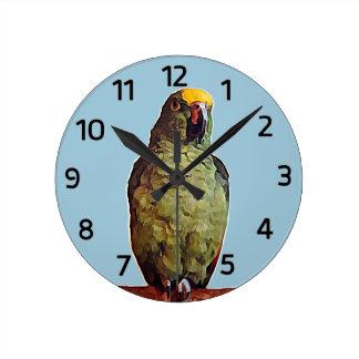 Reloj de pared del loro del Amazonas