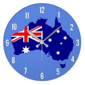 Reloj de pared del mapa de la bandera de Australia