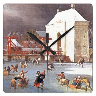 Reloj de pared del patinaje de hielo de Holanda