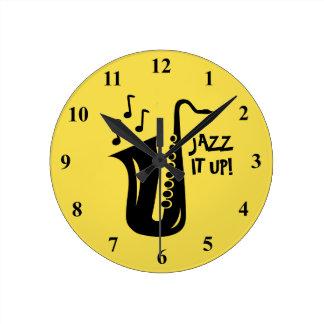 Reloj de pared del saxofón para el hogar, el club