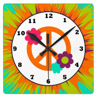 Reloj de pared del signo de la paz del Hippie de