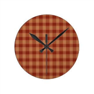 Reloj de pared del tartán del moreno