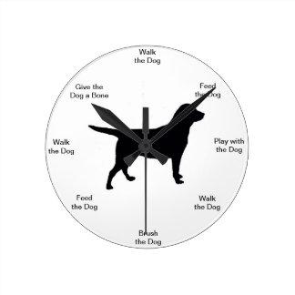 Reloj de pared del tiempo del perro