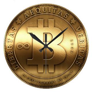 Reloj de pared grande de Bitcoin del símbolo