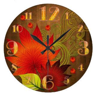 Reloj de pared grande de las hojas de otoño
