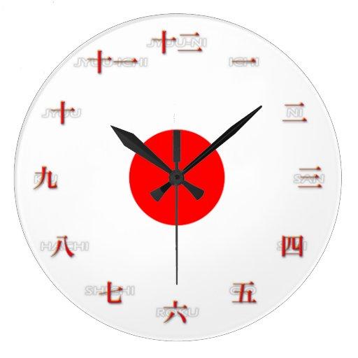 Reloj de pared grande de los números japoneses