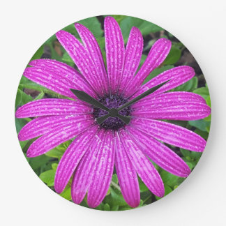 Reloj de pared (grande) redondo con imagen púrpura