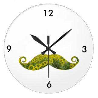 Reloj de pared (grande) redondo del bigote floral