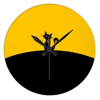 Reloj de pared (grande) redondo del gato negro