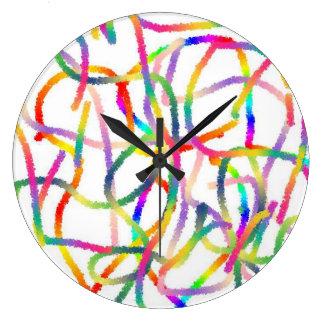 Reloj de pared (grande) redondo - líneas de color