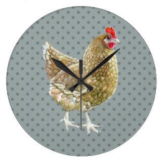 Reloj de pared ilustrado del pollo del lunar