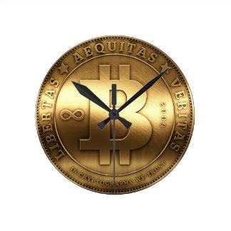 Reloj de pared medio de Bitcoin del símbolo