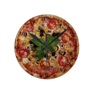 Reloj de pared (medio) redondo de lujo de la pizza