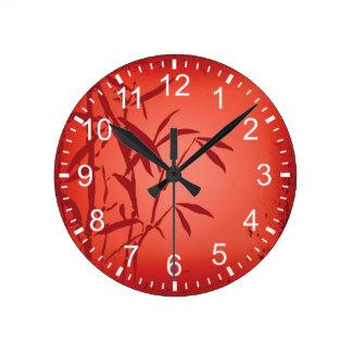 Reloj de pared (medio) redondo del grunge de bambú
