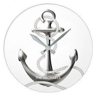 Reloj de pared náutico del ancla de plata