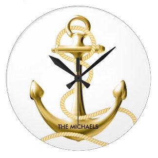 Reloj de pared náutico del ancla del oro