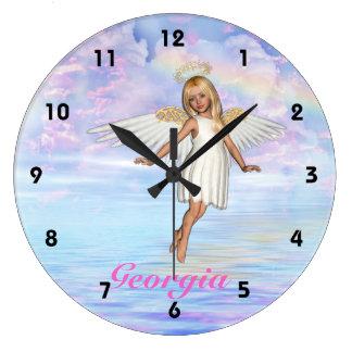 Reloj de pared personalizado del cielo del ángel -