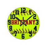 Reloj de pared personalizado del softball