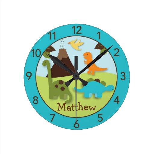 Reloj de pared personalizado dinosaurio del cuarto zazzle - Relojes de pared personalizados ...