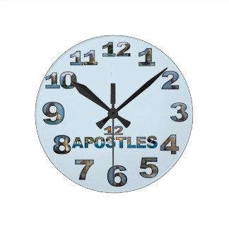 Reloj de pared redondo de doce apóstoles
