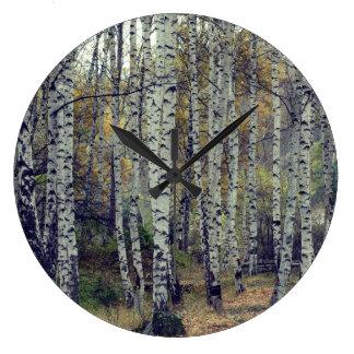 Reloj de pared redondo de la foto del otoño de