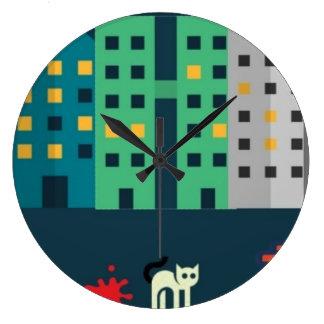 reloj de pared redondo de los gatos de la calle de