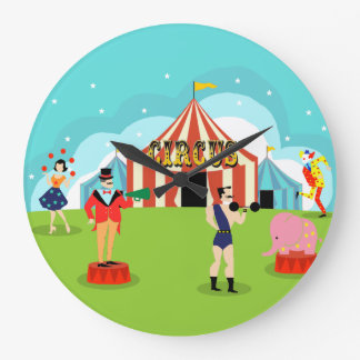 Reloj de pared redondo del circo del vintage