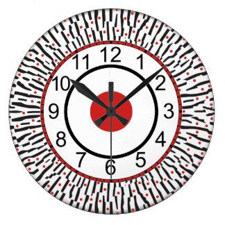 Reloj de pared redondo negro, rojo, blanco moderno