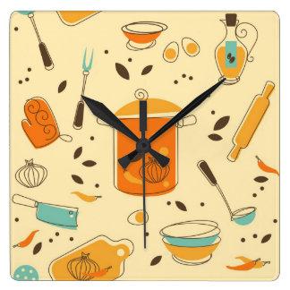 Reloj de pared retro del cuadrado de la cocina