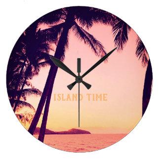 Reloj de pared retro tropical - tiempo de la isla