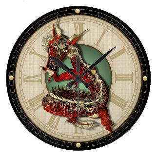 Reloj de pared rojo chino del dragón