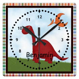 Reloj de pared rojo del dinosaurio de los niños
