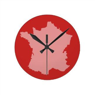 Reloj de pared - rojo del diseño del mapa de