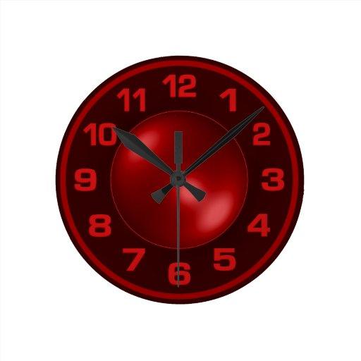 Reloj de pared rojo quemado zazzle - Reloj de pared diseno ...