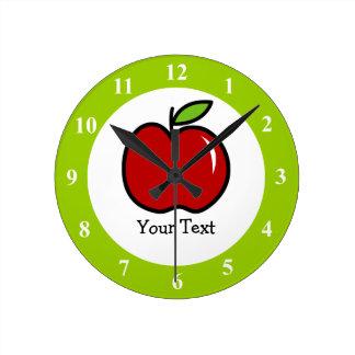Reloj de pared rojo y verde de la manzana para los