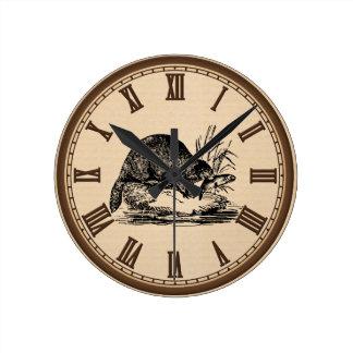 Reloj de pared romano del número del castor y de