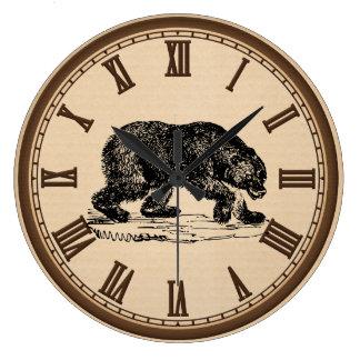 Reloj de pared romano del número del oso negro del