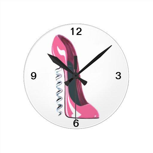 Reloj de pared rosado del zapato del estilete del zazzle - Reloj de pared diseno ...