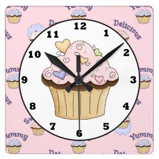 Reloj de pared rosado delicioso de la cocina de la