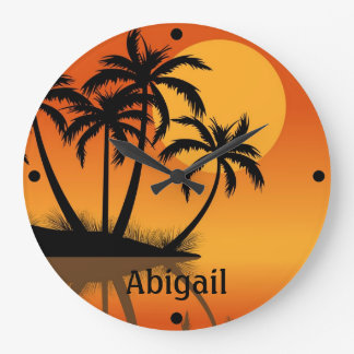 Reloj de pared tropical personalizado de la playa