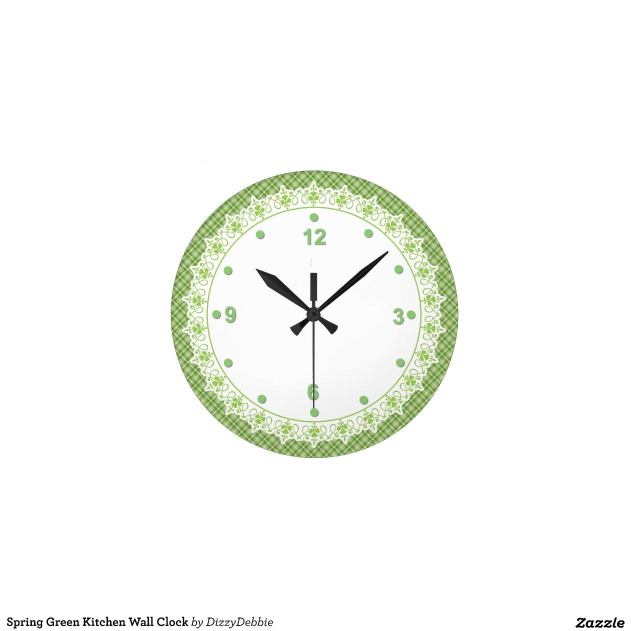 Reloj de pared verde de la cocina de la primavera zazzle - Reloj de pared diseno ...