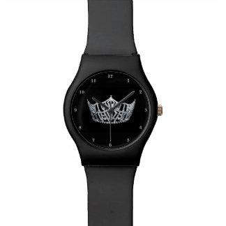 Reloj de plata de la Srta. América corona negro el