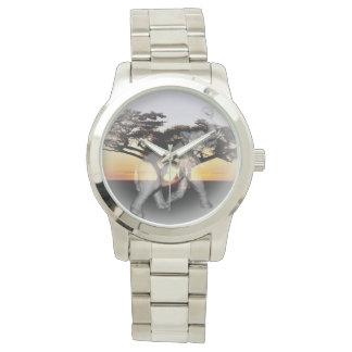 Reloj de plata unisex grande de la danza de sombra