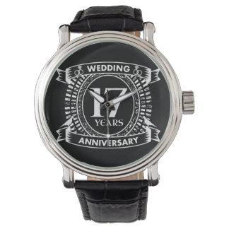 Reloj De Pulsera 17mo aniversario de boda blanco y negro