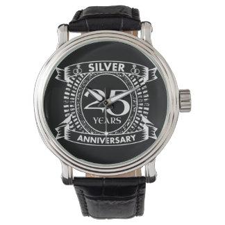 Reloj De Pulsera 25to escudo de la plata del aniversario de boda